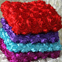 Wholesale Fabric Flower Appliques Wholesale - New 3D Flower Fabric Wedding Table Carpet Backdrop Cloth Multicolor Stereo Rose Fabric for Baby Photography Props Rosette Fabric - Yard