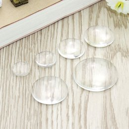 Wholesale Transparent Cabochon 25mm - 100 pcs lot 10mm 12mm 16mm 18mm 20mm 25mm Domed Round Transparent Clear Glass Cabochon Cameo Setting Base Set DIY Snap Buttons