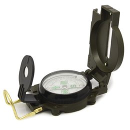 Wholesale Green Military Lensatic Compass - Wholesale-Outdoor Camping Hiking Orienteering Military Green Marching Lensatic Compass