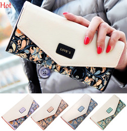Wholesale Envelope Clutch Lady Hand Bag - Envelope Bags Women Hasp Zipper Leather Wallets Flower 3 Fold Floral Pu Leather Lady Purse Long Ladies Mini Hand Clutch Coin Purses SV028895