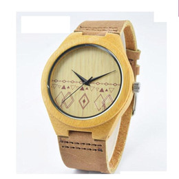 Wholesale Japanese Watches For Men - Classic Bamboo Wooden Watch japanese miyota 2035 movement wristwatches genuine leather bamboo wood watches for men women gift box