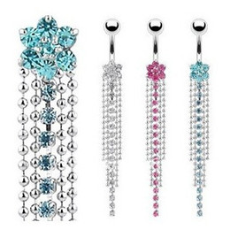 Wholesale Belly Ring Charms - Stainless Steel Rhinestone Body Piercing Jewelry Belly Button Navel Rings Navel Buckle Earrings Dangle Accessories Fashion Charm
