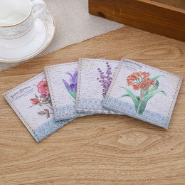 Wholesale French Tables - Wholesale- LINKWELL Set of 4 10x10cm Vintage Flower French Country Pattern Rose PU Leather Bar Coaster Table Cup Holder Drink Placemat Mat