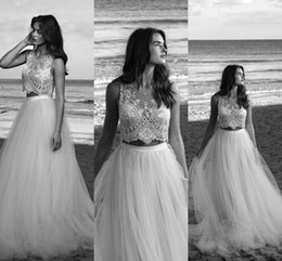 Wholesale Images Cool - Lihi Hod Two Pieces Wedding Dresses 2016 Summer Sexy Cool Sheer Crew Neck Hand Beading Lace Backless Tulle A-line Long Bridal Gowns