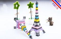 Wholesale Decoration Paris - New Household Metal Crafts 30CM Rainbow color Paris Eiffel Tower model Home Decors Souvenir for Wedding centerpieces home table centerpieces