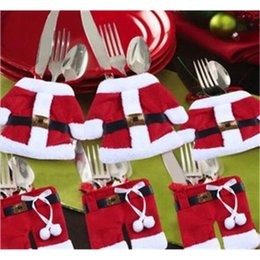 Wholesale F Clothing - 12PCS Christmas Cutlery Bag Christmas tree ornaments Santa Claus clothes modeling Festive Christmas Decoration