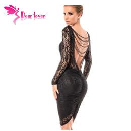 Черное платье без спинки онлайн-Дорогие-любовник черные кружевные платья Vestido де Ренда зима элегантный халат сексуальный тонкий прикован с длинным рукавом спинки Midi платье LC6755 17410