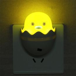 2019 luces de noche de pato Lámpara de noche de dibujos animados Ahorro de energía Luces de inducción ópticamente controladas Plástico Pequeña forma de pato amarillo Luz LED Durable 1 5sy B rebajas luces de noche de pato