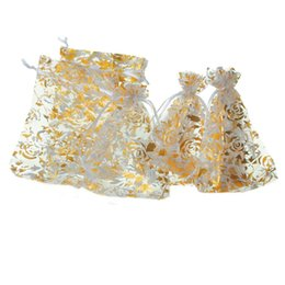 Wholesale Gold Organza Favour Bags - Wholesale-25pcs 9.8cm x14cm Gold Rose White Organza Wedding Favours XMAS Gift Jewelry Bags (Over $110 Free Express)