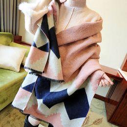 2019 poncho de cachemira para mujer Nueva llegada geométrica bufanda de invierno Pashminas de lana caliente Cashmere bufanda Tippet para mujer Poncho manta bufanda mantón 195 * 60 cm poncho de cachemira para mujer baratos