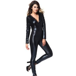 Wholesale One Piece Costume Adult - Sexy Adult Gothic Black Wet Look One-piece Bodysuit Fetish Faux Leather Catsuit Stripper Women's Exotic Costumes