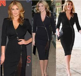 Wholesale Dresses Shift Cotton - 2015 Womens Celebrity V Neck Mesh Zipper Stretch Evening Prom Party Club Slit Clubwear Pencil Bodycon Shift Dress