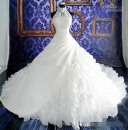 2019 weißgold indische kleider Reales Bild Weiß Ballkleid Brautkleider Rüschen Applique Spitze Kapelle Lange Zug Brautkleider High Neck Organza Vestido