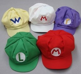 Wholesale Super Mario Cosplay Hat - Super Mario Bros Anime Cosplay Red Cap Tag Super cotton hat Super mario hats Luigi hat 5 colors free shipping by DHL A-102