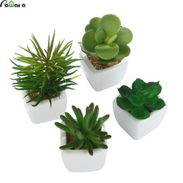 Ceramiche piante artificiali online-4pcs / Set Piante Succulente Artificiali Con Vasi Di Ceramica Quadrati Falso Aloe Lotus Pianta Rara Paesaggio Giardino di Casa Decorazione dell'ufficio
