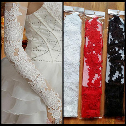 Wholesale Black Long Laced Gloves - 2016 New Arrival White Long Design Vintage Lace Bridal Gloves Above Elbow Length Fingerless Bridal Gloves Bridal Accessories