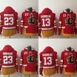 Wholesale 23 Sweatshirt - Mens Calgary Flames Hoodies Jersey 13 Johnny Gaudreau 23 Sean Monahan Sweatshirts Winter Jacket Red Free Shipping