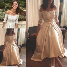 Wholesale Tea Length Off White Skirt - 2017 Plus Size A-Line Wedding Dresses Half Lace Sleeve Satin Off Shoulder Backless Tea-Length Applique Ribbon Sash Bow Vintage Bridal Gowns