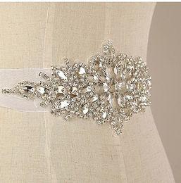 Wholesale Wholesale Bridal Sashes - 2016 New Arrival Organza Ribbon Handmade Crystals Rhinestone Bridal Belt Wedding Dress Sash Real Photos