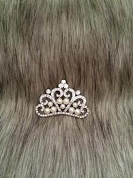 Wholesale Embellishments Bows - 15 Pieces White Pearl Tiara Rhinestone Buttons Crystal Tiara Bow Headwear Bridal Wedding Embellishment For Brooch Bouquet