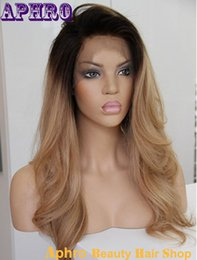Wholesale Silk Top Human Wigs - Unprocessed 6A Brazilian Hair Silk Top Full Lace Human Hair Ombre Wigs 130%Density Glueless Blonde Front Lace Wigs With Dark Roots