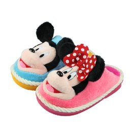Wholesale Stuffed Minnie - Wholesale-Boy Girl Winter Warm Minnie Mouse Slippers Kawaii 3D House Plush Stuffed Slippers Home Shoes Fashion Cartoon Shoes