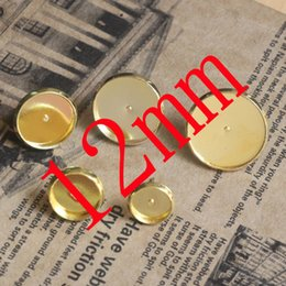 Wholesale Tray Earring Blanks - Wholesale-WHOLESALE 200pcs GOLD Plated Metal Based Earring Stud with inner 8-16mm Cameo Setting Blank base Tray for DIY Jewelry Making