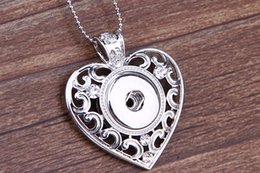 Wholesale Valentine Diamonds - 2016 Hot Mix style Noosa spider owl heart ellipse Necklace Fit 18mm & 20mm Snap Button Women Silver Plated Sweater Chain Valentine Gift