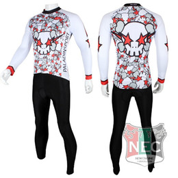 Wholesale Cycling Jersey White Pants Long - Raged Skull white 164 Men's Long Sleeve Cycling Kit Jersey + Pants Quick Dry Plus Size maillot quality ciclo jersey Bike outfit