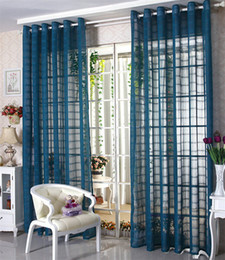 Wholesale Golden Trims - Linen Tulle Sheer Curtains   Voile Curtains Window Panel Drapes For Living Room   Bedroom Trimming BlueWhiteRed Gauze Free shipping