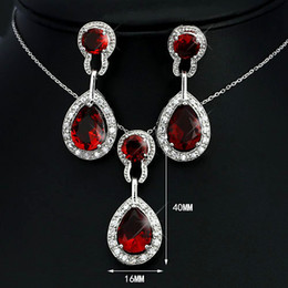 Wholesale Aqua Jewelery - jewelery luxury red crystal drop crystal necklace sets wedding essential JS100364