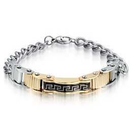 Wholesale Gold Id Bracelets For Men - Fashion Traditional Elements The Great Wall pattern ID Bracelet Gold&Silver&Black Stainless steel curb Link Chain Jewelry For Men Gifts