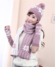 Wholesale Knit Snow Hat - Wholesale-Christmas Gift warm Snowflake Design Knitting Winter Women Snow Hats Glove Scarf Three Pieces 3Pcs Set JD-279