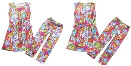 Wholesale Clothes Shopping Cartoon - Shopping World Girls Cartoon Suits Girls Sleeveless Dress With Bow+Leggings 2PCS Outfits Set Shop Fruits Family Girls Clothing Set Via DHL