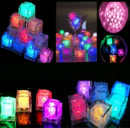 Wholesale Ice Cube Flashing Led Lights - 8 Colors Christmas Decoration Flash Ice Cube WaterActived Flash LED Light Put Into Water Drink Flash Automatically for Party Wedding Bars