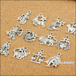 Wholesale Antique Coin Jewelry - ashion Jewelry Charms 120 pcs Vintage Charms Zodiac twelve constellations sign Pendant Antique silver Fit Bracelets Necklace DIY Metal Je...