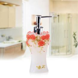 Wholesale Vintage Bathroom Decor - Wholesale- Bathroom Soap Dispenser Set Vintage Rose Flower Soap Jar Lotion Dispenser Home Decor Storage Bottles & Jars (Romantic Garden)