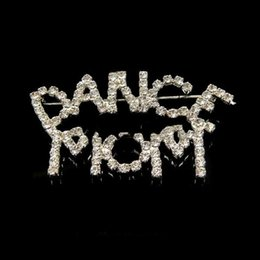 Wholesale Rhinestone Pageant Pins - Wholesale-MN-Dance Mom LETTERS Brooch Factory Rhinestones Music Dance Pageant Broche Pin
