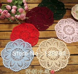 Wholesale Crochet Round Cushion - Wholesale-Chinese traditional Handmade crochet placemats coasters Doily,100% cotton 20cm round shape table Decorative cushions,pad mats