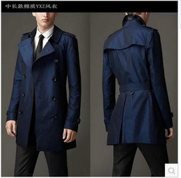 Мужское длинное черное зимнее пальто онлайн-Fall-Blue khaki double breasted long black trench coat men british style trench coat pea coat men cheap mens winter coats belt 2xl