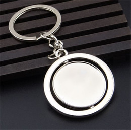 Wholesale Rotating Keychain - Rotating Blank Keychain Pendant Key Chain 2015 New Metal Silver Key Ring Men Women Jewelry YK191