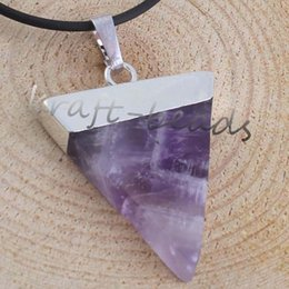 Wholesale Triangle Shaped Necklace - Wholesale 10pcs Fashion Charm Silver Plate amethyst triangle shape chakra healing pendant Gift