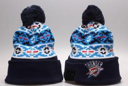 Wholesale Cheap Basketball Pom Beanies - New Pom Pom Beanies Cheap OKC Basketball Beanies Brand Knitted Hats Popular Warm Winter Caps Sports Team Hats