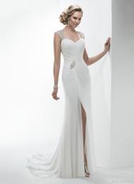 Wholesale Keyhole Front Wedding Dress - 2016 Simple Keyhole Back Wedding Dress Split Cheap Cap Sleeve Floor Length Long Sexy Chiffon Wedding Dresses Spring Beach Wedding Gowns Plus