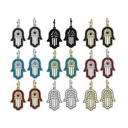 Wholesale Faith Earrings - New candy color hamsa hand fatima earring faith punk hoop earrings 4 colors evil eye earrings free shipping