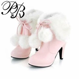Wholesale White Fur High Heel Boots - Wholesale-size 34-43 new faux fur inside fashion snow sexy high heels wome boots autumn winter boots women shoes woman ankle #Y1024406F