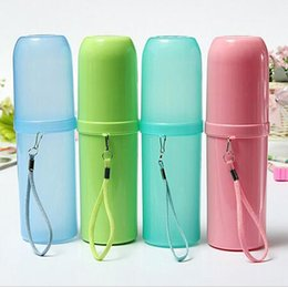 Wholesale Travel Toothbrush Cup - High Quality Portable Toothbrush Holder Tooth Mug Toothpaste Cup Bath Travel Accessories Set 4 Colors Promotion