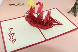 "Wholesale origami pop up greeting cards - The Creative ""Sailing Boat"" Handmade Kirigami & Origami 3D Pop UP Greeting Cards For Birthday Gift"