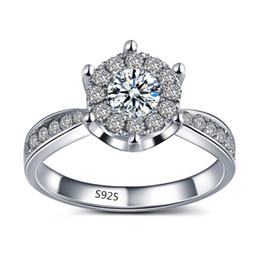 Wholesale Diamond Engagement Rings Ct - silver jewelry vintage midi wedding ring engagement elegant bague for women AAA zircon 1 ct simulate diamond bijoux MSR093