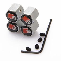 Wholesale Sline Tire Valve Caps - Lockable Black SLINE Anti-Theft Dust Cap Tire valve caps With Car Logo Badges Emblems Black SLINE With Retail Box SZYX-0021